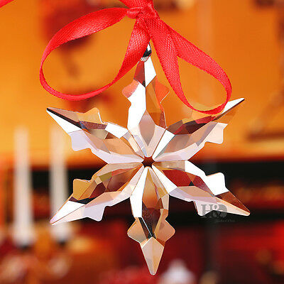 Crystal Champagne Christmas LITTLE STAR SNOWFLAKE Ornament Xmas Gift with Box
