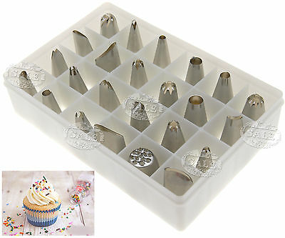 24pcs x Stainless Steel Cake Sugarcraft Icing Pastry Piping Bag Nozzle Tips L61