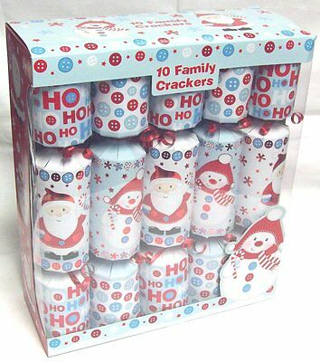 Pack Of 10 Luxury Family Christmas Crackers Cute Blue White Red Santa & Snowman