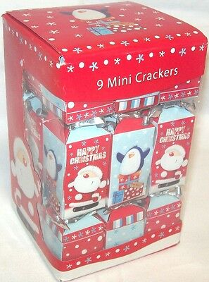 Pack Of 9 Cute Mini Square Christmas Crackers Blue Red Santa & Penguin Design
