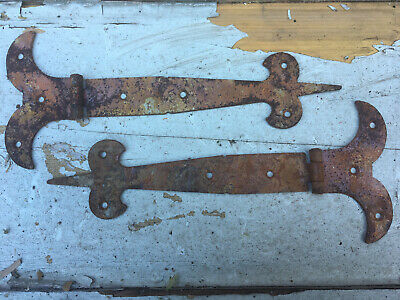 "RUSTY ~10"" PAIR of  RUSTIC GOTHIC T/HINGES~"