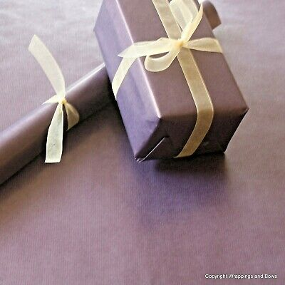 Purple Kraft Wrapping Paper 5 or 10 mtrs Buff Brown Backed Vintage Style Wrap
