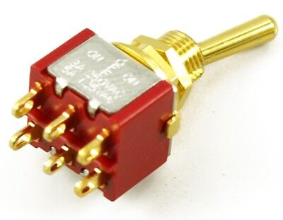 NEW - On-Off-On Mini Switch, DPDT, Round Bat - GOLD