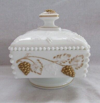 Westmoreland Milk Glass Hand Painted Beaded Grape Square Covered Bowl Box