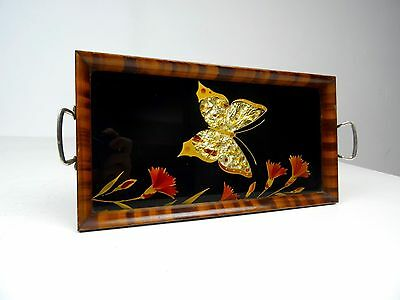 Unusual Small Wooden French Art Nouveau Tray Butterfly Antique Art Deco 1920