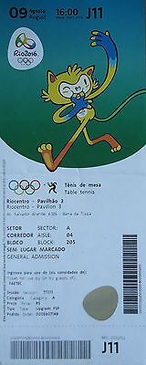 TICKET M 9.8.2016 Olympia Rio Olympic Games Tischtennis Table Tennis # J11