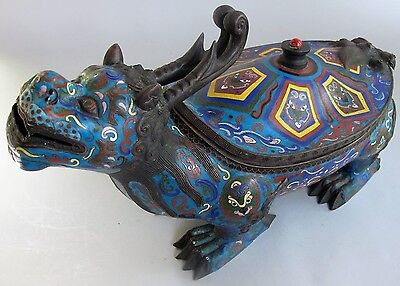 "Unique & Large 22"" Antique CHINESE CLOISONNE ""Turtle Beast"" Sculpture  c. 1920s"