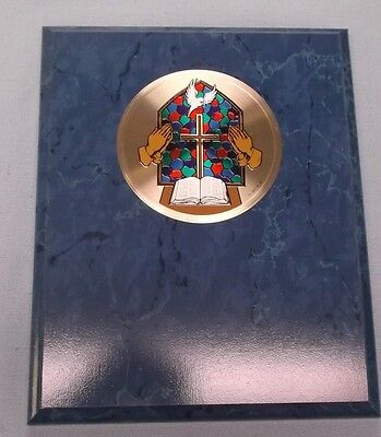 bible cross praying hands metal insert religion stained glass look blue plaque