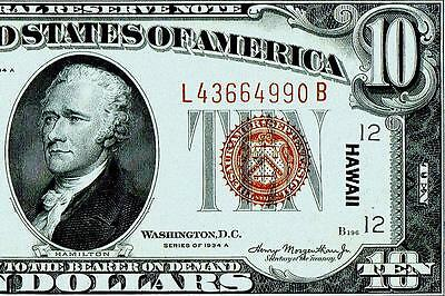 1934 A $10 Dollar Bill Hawaii Issue Fen Brown Seal Note,~~High Grade