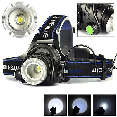 5000LM Zoom XML T6 LED 18650 Headlamp Torch Headlight Rechargeable Head Lamp BA
