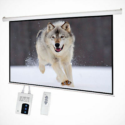 "100"" Electric Motorized Remote Projection Screen HD Movie Projector White 16:9"