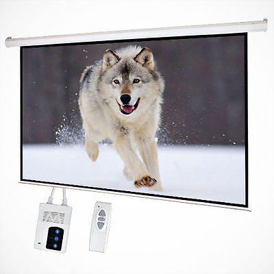 "100"" Inch Electric Motorized Projector Screen Home Theatre HD TV Projection"