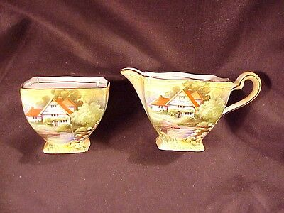 ROYAL WINTON CREAMER/OPEN SUGAR, RED ROOF COTTAGE, c'30'S MINT