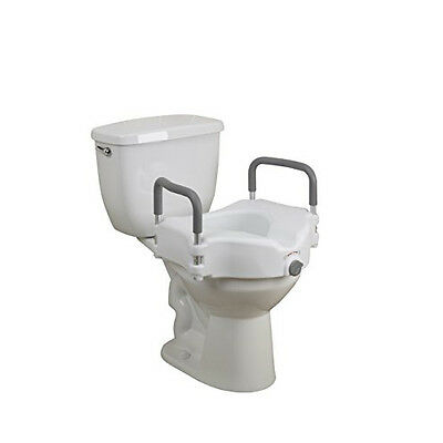 Drive Medical Elevated Raised Toilet Seat with Removable Padded Arms, Sale