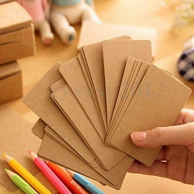 100 Kraft Label Blank Luggage Tags Message Card Memo Paper Wedding Party Gift UK