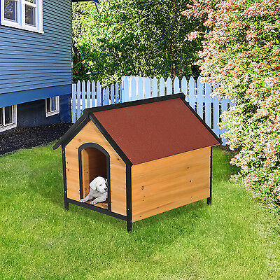 Dog House Kennel Fir Wood Shelter Raised Floor A-frame Open Roof New Outdoor