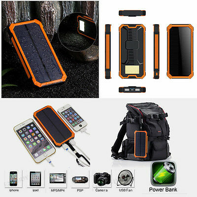 100000mAh Portable Solar  Dual USB Charger Power Bank For Mobile phone UK
