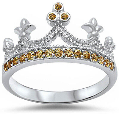 Sterling Silver Women's Champagne Royalty CZ Royal Crown Fashion Ring Size 4-10