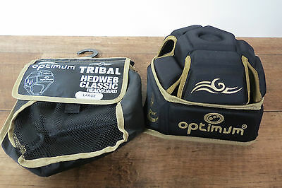 OPTIMUM Tribal Rugby Headguard Headweb Black / Gold EXCELLENT CONDITION Size L