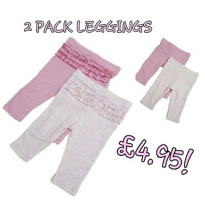 Baby Girls Pink Leggings Trousers Frilly Pants EX M+S 2 PACK Casual Slim Fit