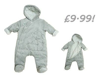 Baby Boys Pramsuit Snowsuit Winter Coat Warm Hooded Fully Lined Velour