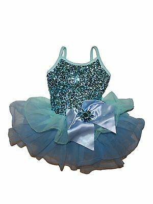 Girl Curtain Call Mint Blue Sequin Tutu Dress Dance Costume Size Child XS