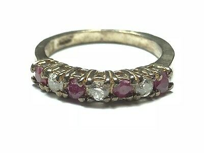 Beautiful Ladies Sterling Silver Ring  - Clear/Red Gems - Must Have - Size 5.25
