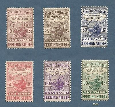 California State Tax Stamps - Feeding Stuffs - 6 values - MNH - OG