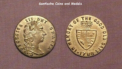 1797 KING GEORGE III SPADE GUINEA BRASS TOKEN - Nice Grade With Lustre