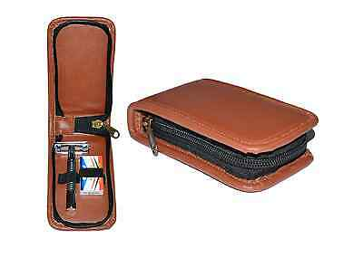 Mens Butterfly Safety Razor & Brown Zipped Gift Case - Travel Case Classic Vtg