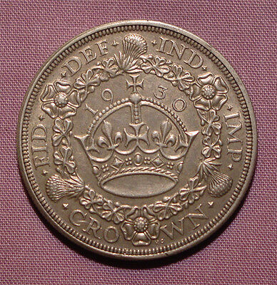 1930 KING GEORGE V SILVER WREATH CROWN - Nice Grade Coin