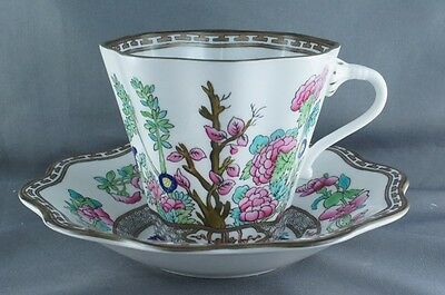 Coalport India Tree Multicolor Larger Flat Cup and Saucer (two available)