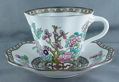Coalport India Tree Multicolor Flat Medium Size Cup and Saucer (Four Available)