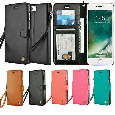 Apple iPhone 8 7 6 6s Plus Wallet Case Wrist Strap Carrying Flip Card Cover