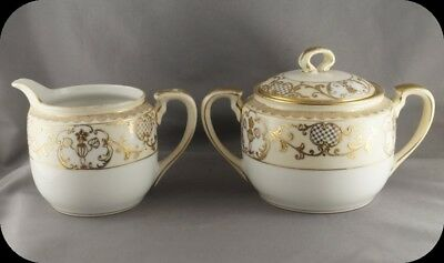 Vintage Noritake M mark Cream and Covered Sugar Heavy Gold