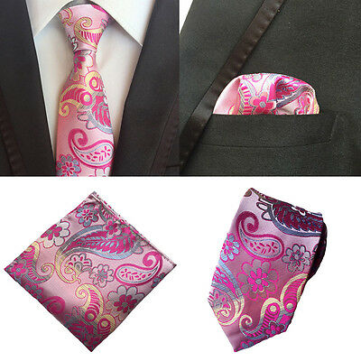 Men Yellow Blue Floral Silk Neck Tie Pocket Square Handkerchief Set Lot HZ078
