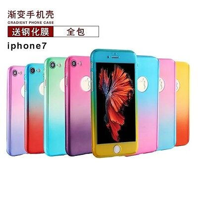 10pcs/lot 360° Full Body Case Gradient Color Tempered Glass Screen for iPhone 7
