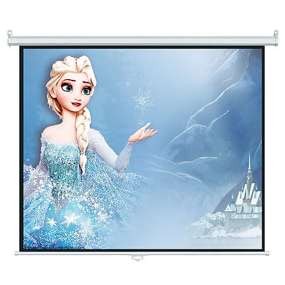 "100"" 4:3 Manual Pull Down Projection Projector Screen Home Theater Movie 80""x60"""