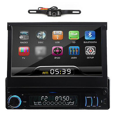 "7"" Touch Screen 1Din In Car Dash Deck DVD Player Radio FM Stereo+Reverse Camera"