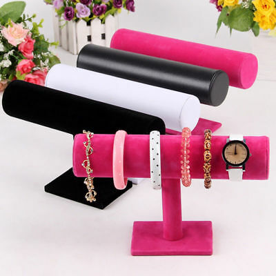 Velvet T-Bar Jewelry Rack Bracelet Necklace Stand Organizer Display For Women