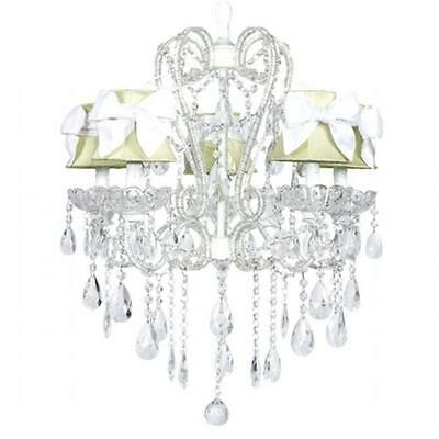 Jubilee Collection Chandelier 5 Light Carousel White with Ch Shade Plain Green