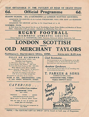London Scottish vOld Merchant Taylors 22 Sep 1956 RUGBY PROGRAMME