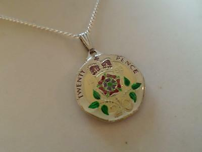 Vintage Enamelled 20 Pence Coin 1993 Pendant & Necklace. Birthday Xmas Present