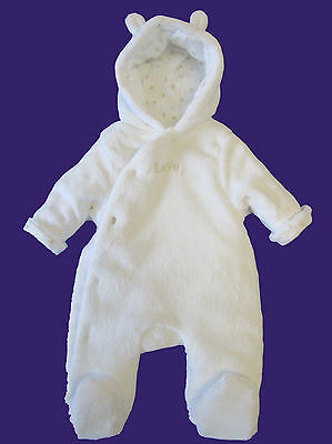 Baby Girl Boy Unisex White Ex Mother-care Warm Snowsuit Pramsuit Coat All in One