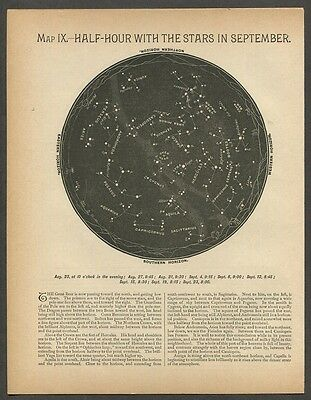 1886 Antique Astronomy Print Star Map Constellations [B]