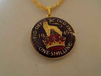 Vintage Enamelled Shilling Coin 1945 Pendant & Necklace. Birthday Xmas Present