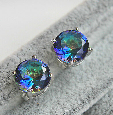 18K White Gold Filled - 9MM Round Blue MYSTICAL Topaz Gemstone Party Earrings
