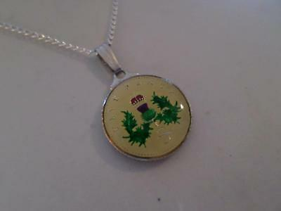 Vintage Enamelled 5 Pence Coin 1992 Pendant & Necklace. Birthday Xmas Present