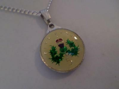 Vintage Enamelled 5 Pence Coin 1995 Pendant & Necklace. Birthday Xmas Present