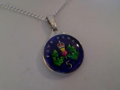 Vintage Enamelled 5 Pence Coin 1996 Pendant & Necklace. 21St Birthday Present